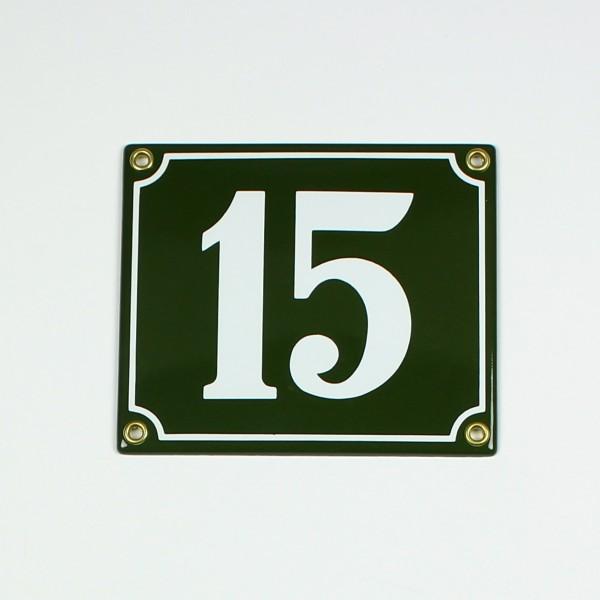15 grün Clarendon 14x12 cm sofort lieferbar 2-stellig Schild Emaille Hausnummer
