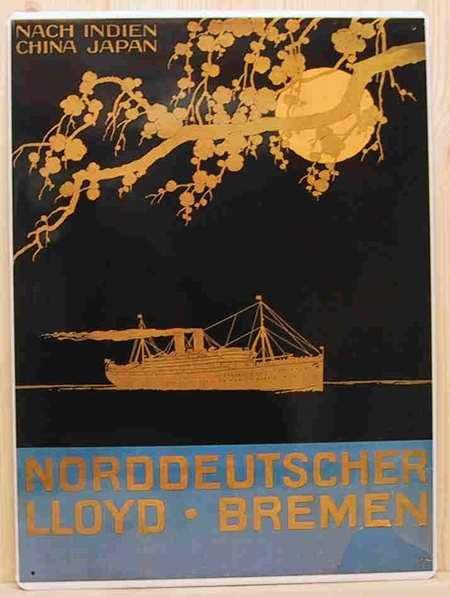 Blechschild Indien Norddeutscher Lloyd Bremen Reederei Schild Nostalgieschild