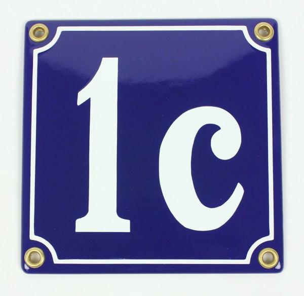 1c blau Clarendon 12x12 cm sofort lieferbar Schild Emaille Hausnummer