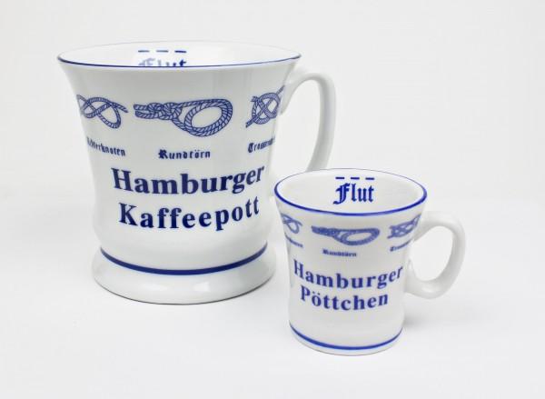 Hamburger Kaffeepott + Hamburger Pöttchen mit Seemannsknoten hoch Kaffeebecher Kaffeetasse Kaffee