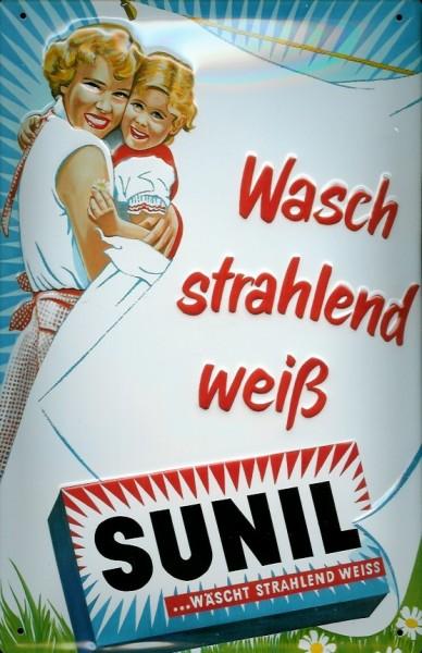 Blechschild Sunil strahlend weiß Waschpulver Schild Nostalgieschild