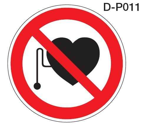 Aluminium Verbotsschild D-P011 Verbot für Personen mit Herzschrittmacher 200 mm / 0,6 mm Alu