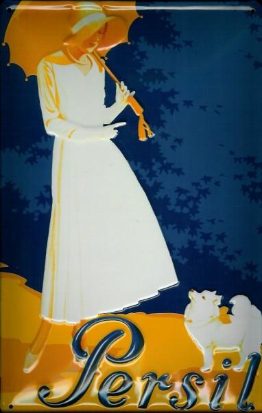 Blechschild Persil Frau mit Hund Waschpulver Schild Nostalgieschild