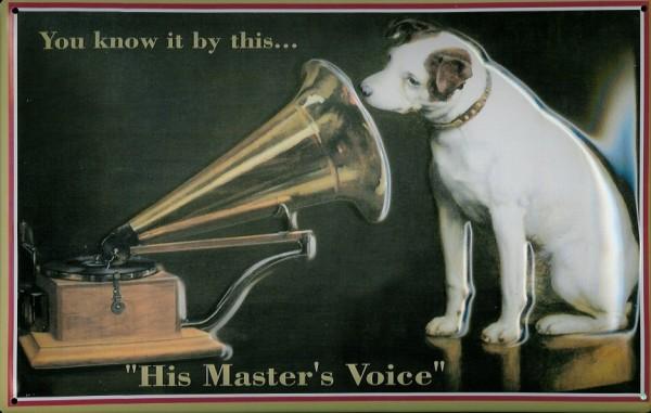 Blechschild Nostalgieschild : His Masters Voice (Querformat)