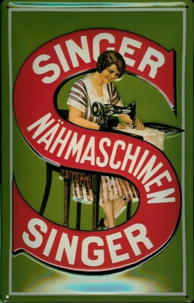 Blechschild Nostalgieschild Singer Nähmaschinen grün