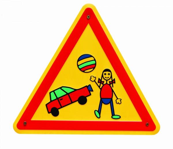 Aluminium Schild Spielstrasse Kinder dreieckig 300 mm geprägt