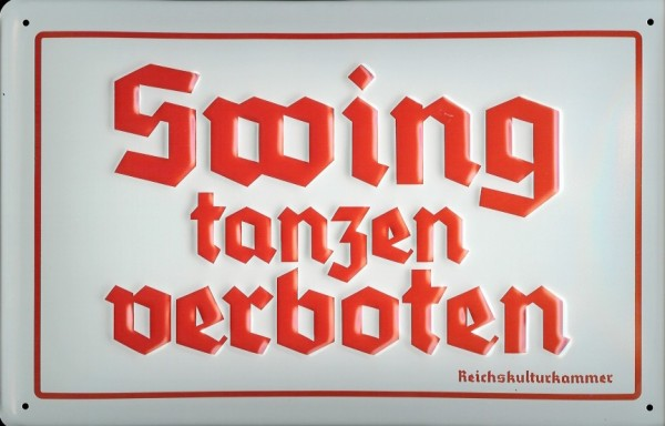 Blechschild Nostalgieschild Swing tanzen verboten Schild Funschild