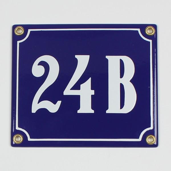 24 B blau Clarendon 14x12 cm sofort lieferbar Schild Emaille Hausnummer