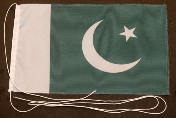 Tischflagge Pakistan 25x15 cm optional mit Holz- oder Chromständer Tischfahne Tischfähnchen