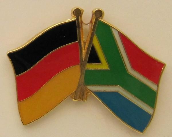 Südafrika / Deutschland Freundschafts Pin Anstecker Flagge Fahne Nationalflagge