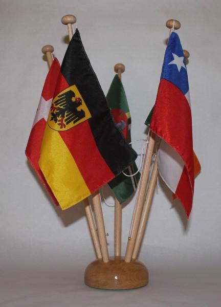 Tischflaggenständer Holz 5-fach in Profiqualität, Höhe 42 cm für 15x25 cm Tischflaggen Tischfahne Ti