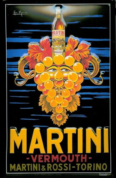 Blechschild Martini (1) Trauben Aperitif Weintrauben retro Schild Nostalgieschild