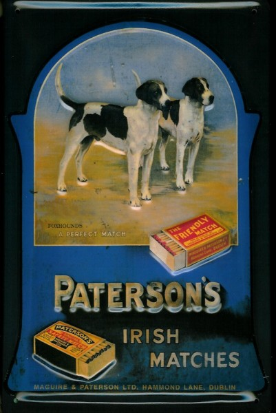 Blechschild Nostalgieschild Paterson\'s Irish Matches Streichholz Hunde