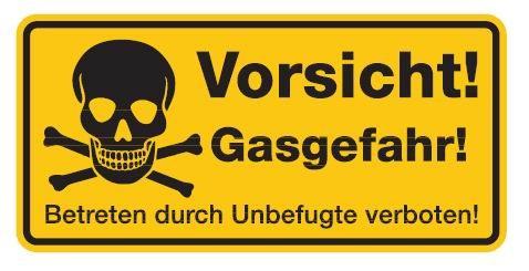 Aluminium Schild Vorsicht! Gasgefahr! Betreten durch Unbefugte verboten! 170x350 mm geprägt