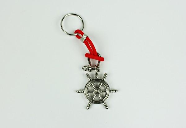 Schlüsselanhänger Steuerrad mit Schäkel und Tau rot silber