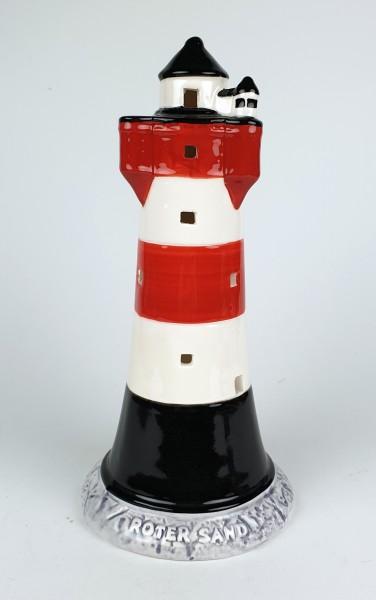 Roter Sand Leuchtturm Modell 20,5cm mit Teelichthalter Keramik Leuchtturmmodell