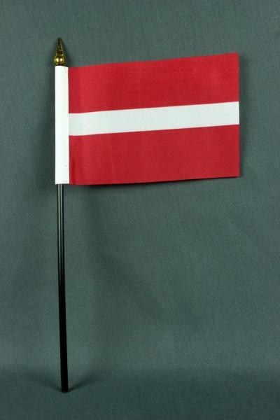 Kleine Tischflagge Lettland 10x15 cm optional mit Tischfähnchenständer