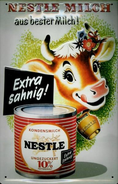 Blechschild Nestle Milch Kuh Dosenmilch Kaffeesahne Schild Werbeschild