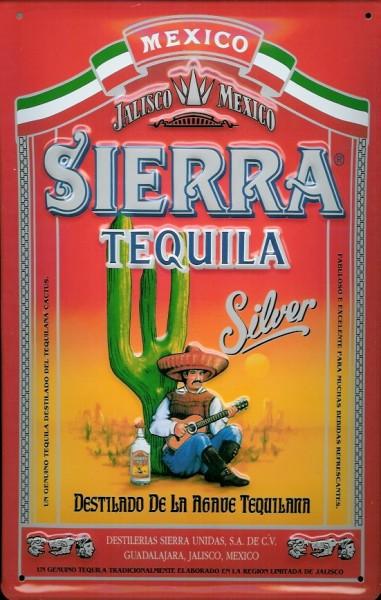 Blechschild Tequila Sierra Silver Mexiko Kaktus Schild Nostalgieschild