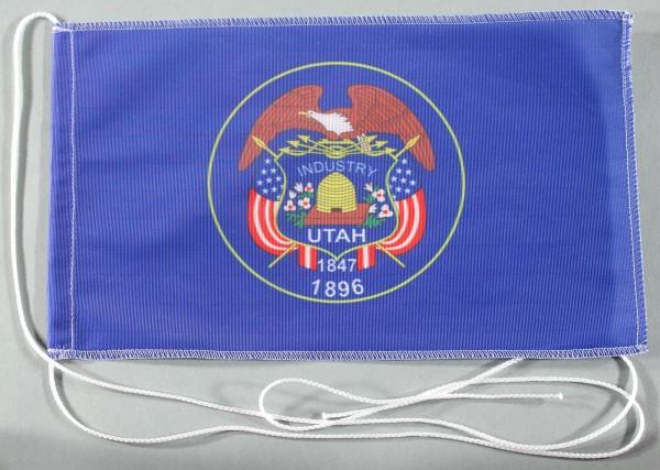 Tischflagge Utah USA Bundesstaat US State 25x15 cm optional mit Holz- oder Chromständer Tischfahne T