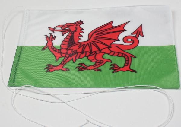 Tischflagge Wales 25x15 cm optional mit Holz- oder Chromständer Tischfahne Tischfähnchen