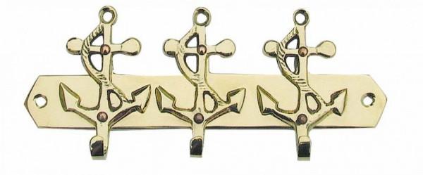 Schlüsselhaken mit 3 Ankern Messing