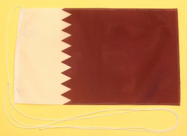 Tischflagge Katar 25x15 cm optional mit Holz- oder Chromständer Tischfahne Tischfähnchen