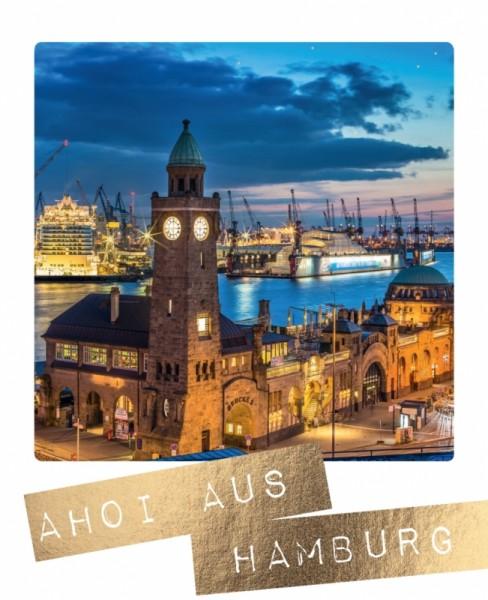 Postkarte Ahoi aus Hamburg Landungsbrücken Goldfolie