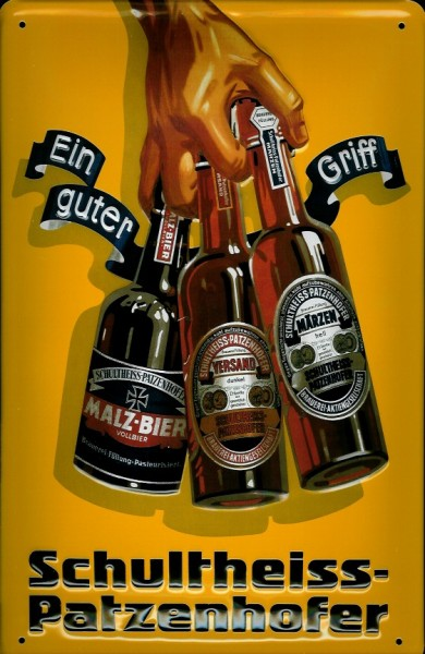 Blechschild Schultheiss Patzenhofer Bier Berlin Ein guter Griff retro Schild