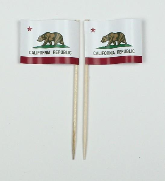 Party-Picker Flagge Kalifornien USA Bundesstaat Papierfähnchen in Spitzenqualität 50 Stück Beutel