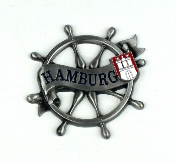 Magnet Steuerrad Tau Silber Titan Hamburg Banderole Wappen Souvenir Mitbringsel Geschenk Deko