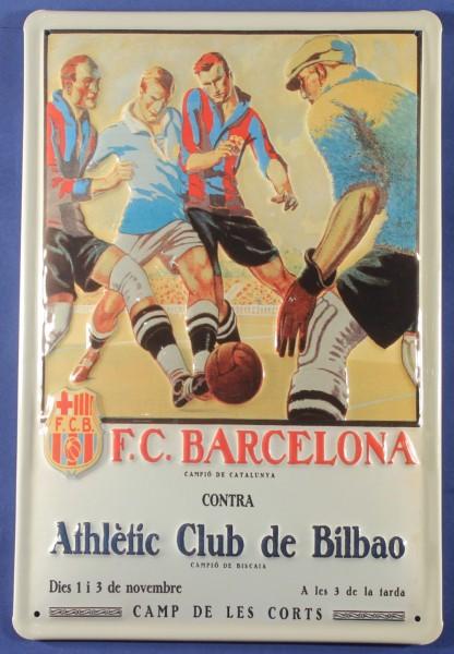 Blechschild Barcelona FC Fussball Bilbao Blech Schild Souvenir Andenken