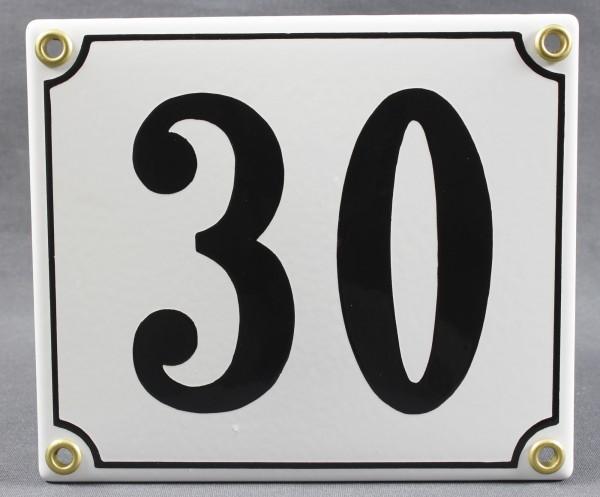 Hausnummernschild 30 weiß 12x14 cm sofort lieferbar Schild Emaille Hausnummer Haus Nummer Zahl Ziffe