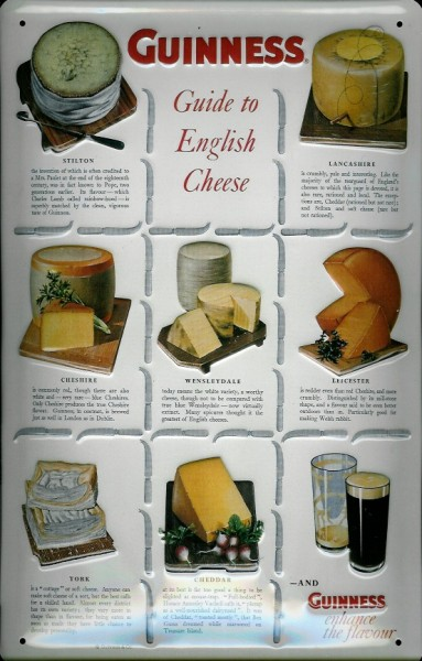 Blechschild Guinness Bier Guide to English Cheese Käse retro Schild Werbeschild