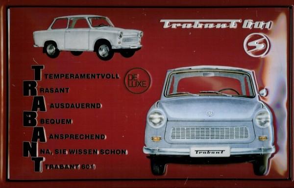 Blechschild Trabant rot quer DDR Nostalgieschild Trabbi Schild