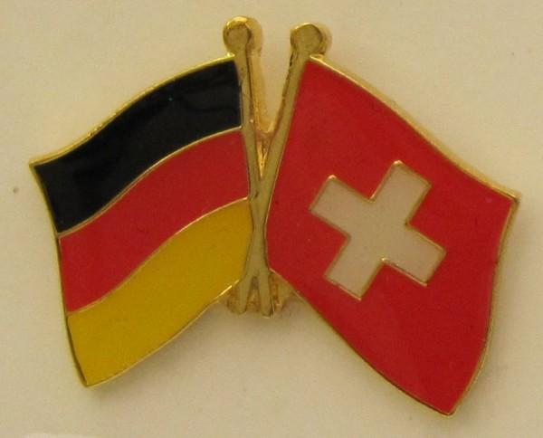 Schweiz / Deutschland Freundschafts Pin Anstecker Flagge Fahne Nationalflagge Schweizerfahne