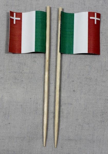 Party-Picker Flagge Neuchatel Kanton Schweiz Papierfähnchen in Spitzenqualität 50 Stück Beutel