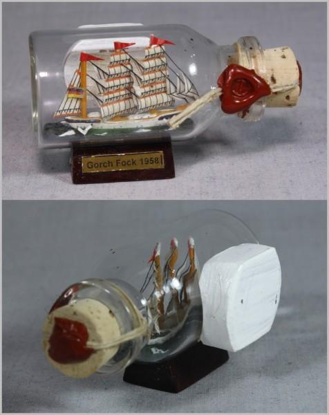 Buddelschiff Gorch Fock 5x2 cm Kühlschrankmagnet mit 10x3 mm Neodym Magnet Souvenir