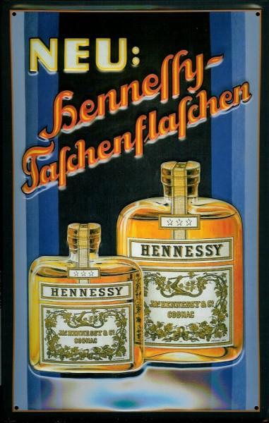 Blechschild Hennessy Cognac Taschenflasche Schild Weinbrand Brandy Werbeschild
