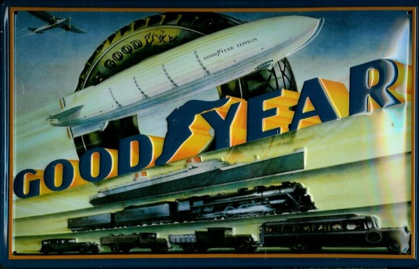 Blechschild Goodyear Zeppelin Eisenbahn Auto Bus Schild Nostalgieschild