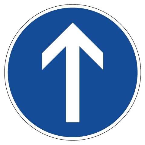 Verkehrsschild / Verkehrszeichen Fahrrichtung Pfeil geradeaus 420 mm rund Aluminium reflektierend T