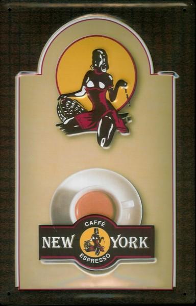 Blechschild Caffe Espresso Cafe New York Logo Schild Coffee Shop Dekoration