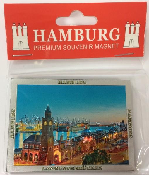 Magnet silber Metall geprägt Hamburg Landungsbrücken Souvenir Mitbringsel Geschenk Deko