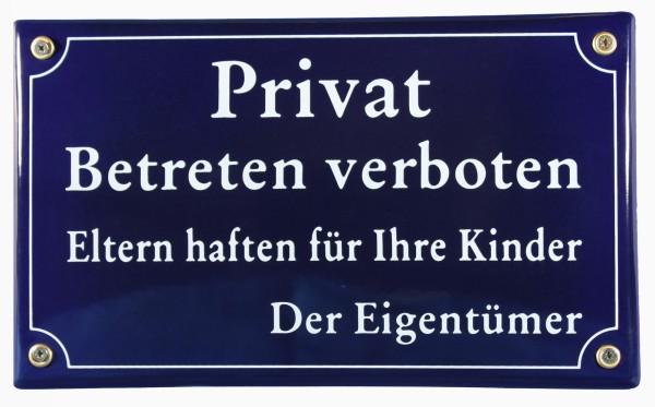 Emaille Privat Schild Betreten verboten Emailleschild Verbotsschild Warnschild