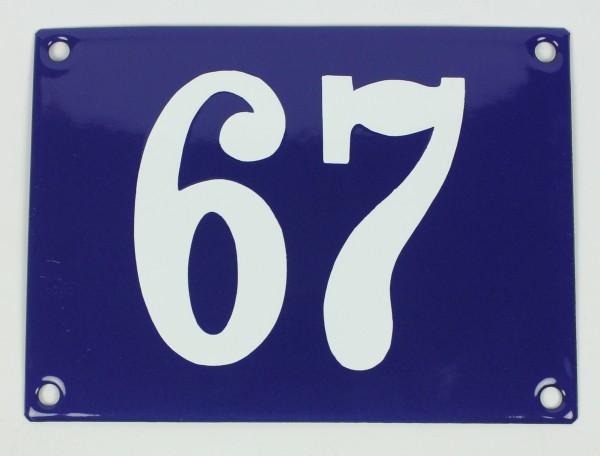67 Ohne Rahmen blau Clarendon 12x18 cm sofort lieferbar Schild Emaille Hausnummer