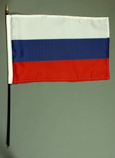 Tischflagge Russland 20x30 cm optional mit Tischflaggenständer aus Mahagoni Holz