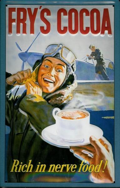 Blechschild Fry Cocoa Pilot Flugzeug Trinkschokolade Retro Schild Nostalgieschild