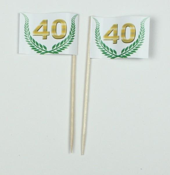 """Party-Picker Flagge Jubiläumskranz """"40"""" Jubiläum Papierfähnchen in Spitzenqualität 50 Stück Beutel"""