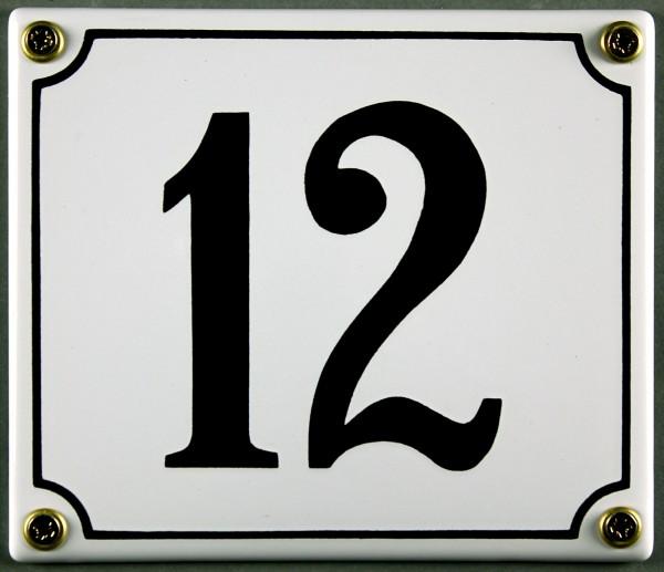 Hausnummernschild 12 weiß 12x14 cm sofort lieferbar Schild Emaille Hausnummer Haus Nummer Zahl Ziffe