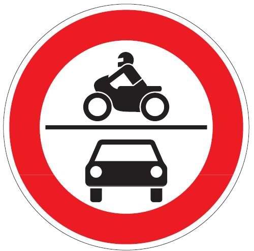 Verkehrsschild / Verkehrszeichen Verbot für Krafträder sowie Kraftwagen und sonstige mehrspurige Kra